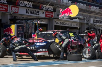 Lowndes' crew go to work in Adelaide. In another throwback to the 1990s, there will be no pitstops to worry about this weekend.