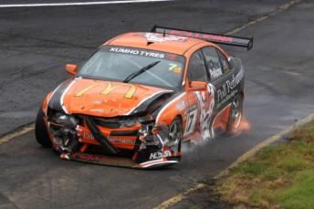 Jim Pollicina endured a torrid day in the ex-Tasman Motorsport Holden