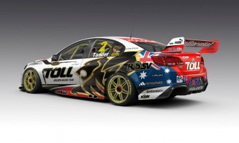A computer generated image of Garth Tander's car, which is currently on its way to the US