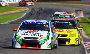 Chaz Mostert leading Clipsal 500 winner Shane van Gisbergen on Sunday