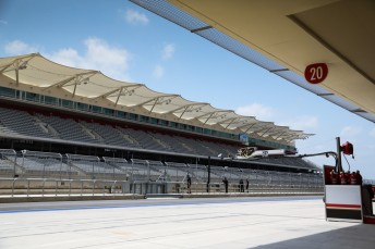 The main grandstand on the front straight at the Circuit of the Americas
