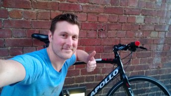James Brock reunited with his trusty bicycle