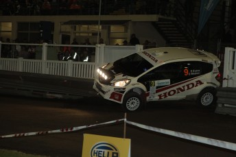 It was almost disaster for Evans when he struck a concrete barrier during Friday night's Power Stage