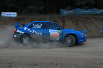 The Brecknell/McIntosh Subaru competing in the Rally of Queensland