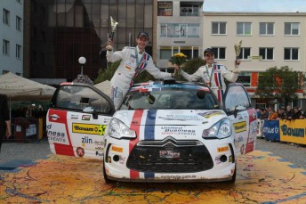 Taylor and co-driver Seb Marshall celebrate in the Czech Republic