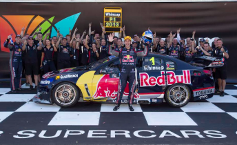 Jamie Whincup celebrates his fifth title