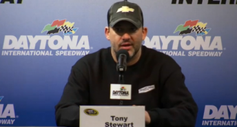 Tony Stewart outlines the latest on his condition at a press conference at Daytona