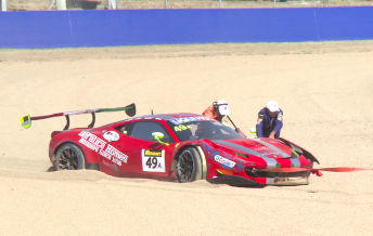 The Vicious Rumour Ferrari ended the session in the gravel