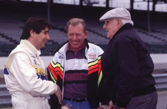 Gary Bettenhausen flanked here by triple F1 world champ Nelson Piquet and the late legendary Indianapolis announcer Tom Carnegie