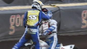 Matej Zagar (#55) approaches Nicki Pedersen after the Dane fenced him