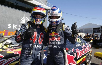 Lowndes and Whincup celebrate post-race