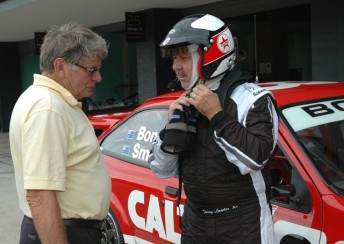 Colin Bond (left) with Terry Lawlor at Sydney Motorsport Park