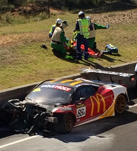 Tony D'Alberto went second fastest before suffering a nasty shunt at Forest's Elbow