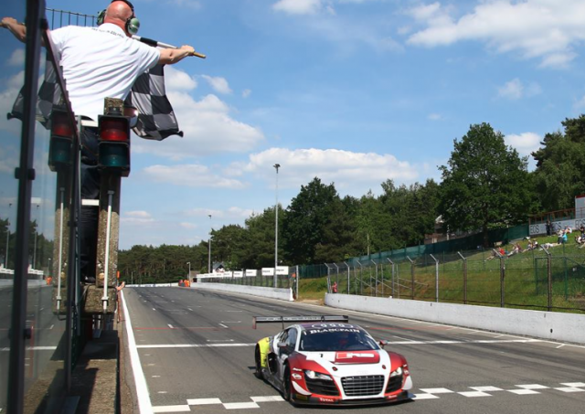 Laurens Vanthoor and Robin Frijns take the chequered flag at Zolder