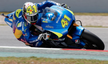 Aleix Espargaro on his way to a landmark pole position for Suzuki