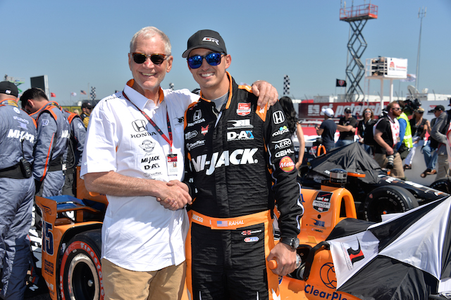Rahal with his co-driver team, the former Late Show host David Letterman earlier this year