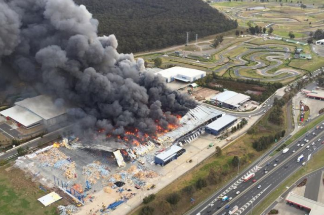 The fire burning next to Sydney Motorsport Park on Thursday. pic: NSW Police