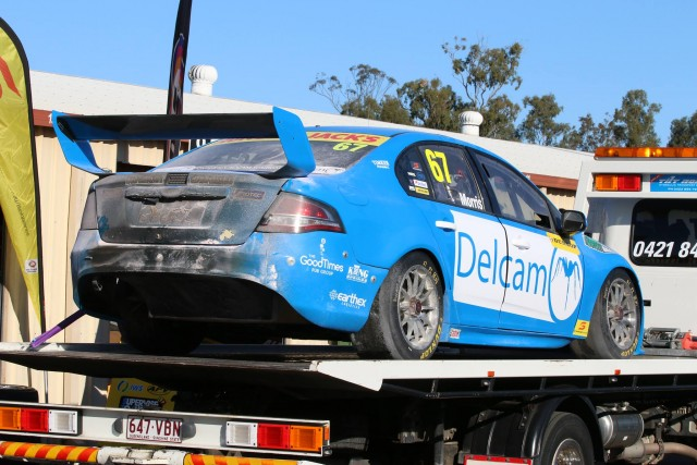 Morris' Falcon returns to the Dunlop Series paddock after the blaze. pic: Matthew Paul Photography