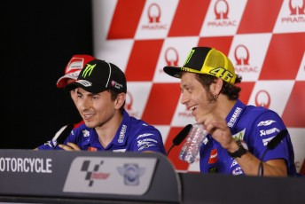 Jorge Lorenzo (left) and Valentino Rossi are vying for his year's MotoGP title