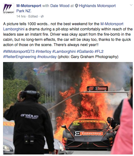 A Facebook update from M Motorsport on Sunday