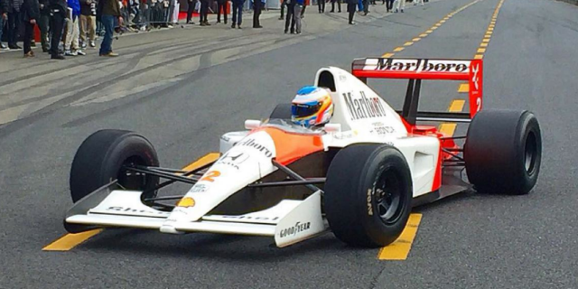 Fernando Alonso behind the wheel of the McLaren MP4-6