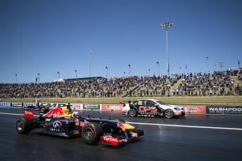 Daniel Ricciardo lines up alongside Nick Percat