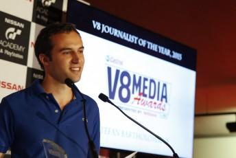 Speedcafe.com editor Stefan Bartholomaeus claimed two key gongs at the V8 Media awards.