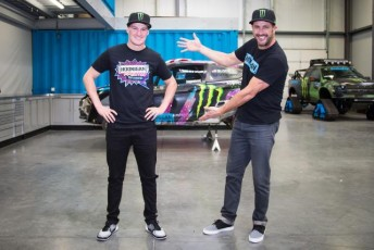 Andreas Bakkerud has linked with Ken Block (right) in an expanded Ford Fiesta Supercar team for the World Rallycross championship