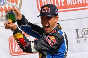 Ogier celebrates his third Monte win