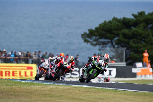 Jonathan Rea is hotly pursued Chaz Davies on the exit of Siberia. Davies eventually crashed at Honda Corner on the final lap with Rea going on to claim a weekend double