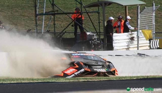 McIntyre's Lamborghini hits the wall. pic: Chris Walsham