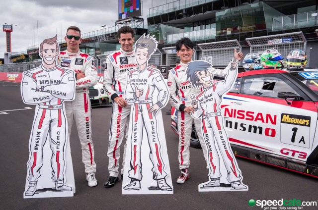 Nissan drivers Strauss, Kelly and Chiyo pose on the Bathurst grid