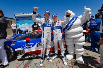 Ryan Briscoe and Richard Westbrook celebrate historic Ford GT win