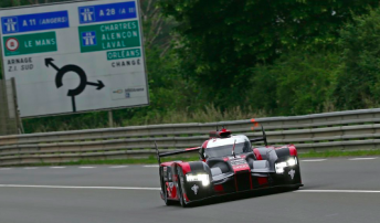 The #8 Audi has set the fastest time following the twin four-hour sessions at the official Le Mans test day