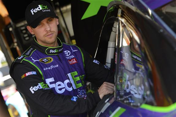 Denny Hamlin will start off pole at NASCAR's last race before the Chase