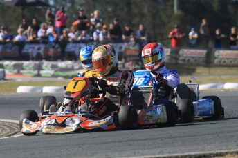 World Karting Champion Paolo de Conto leads Marijn Kremers and Davide Fore at the Race of Stars