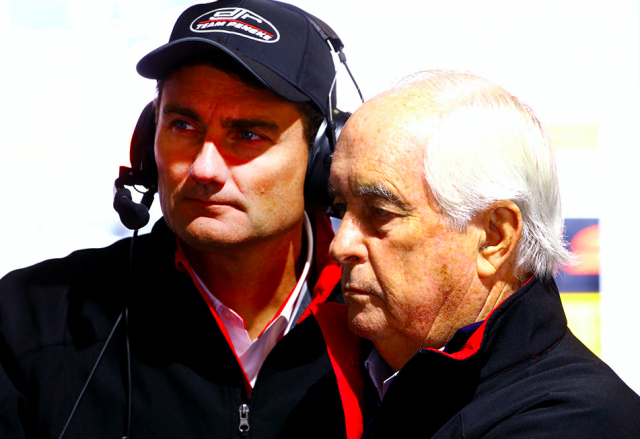 Roger Penske with Team Penske president Tim Cindric at Barbagallo