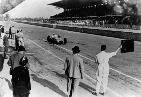 Hermann Lang behind the wheel of the Mercedes-Benz W 165 at the 1939 Tripoli GP