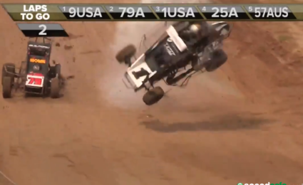 Kyle Larson flips pic: Speed Shift TV