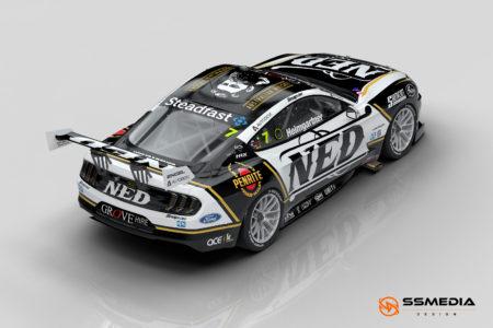 2022 Gen3 Mustang AH NED Racing rear driver 3-4 view